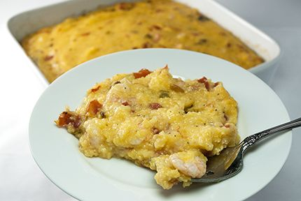Shrimp 'n Grits Casserole  This is so good. I did not add a hot sauce just used rotel and it was hot enough for my taste and my daughter. I also did not cook it in the oven just let it simmer in the skilletI would make this again,