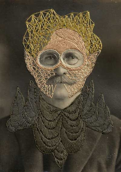 http://www.mrxstitch.com/wp-content/uploads/2011/09/Leonard.jpg    Contemporary embroidery art via Mr X Stitch    Stacey Page is a mixed media artist from Georgia, USA