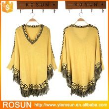Plus size fringe batwing sleeve women fashion poncho 2015 Plus size fringe batwing sleeve women fashion poncho 2015