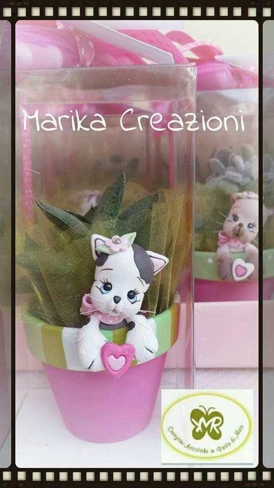 Vasetto con gattino  Marika Creazioni in Pasta di Mais