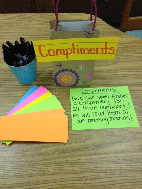 I love the idea of having a compliment box in a classroom at all times. Students/teachers/visitors can write a compliment about someone at any time. A few will be read each day!
