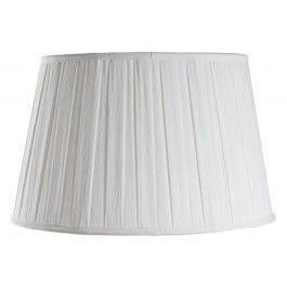 Fin oval lampskärm Rose Du Roi i veckad siden, vit.