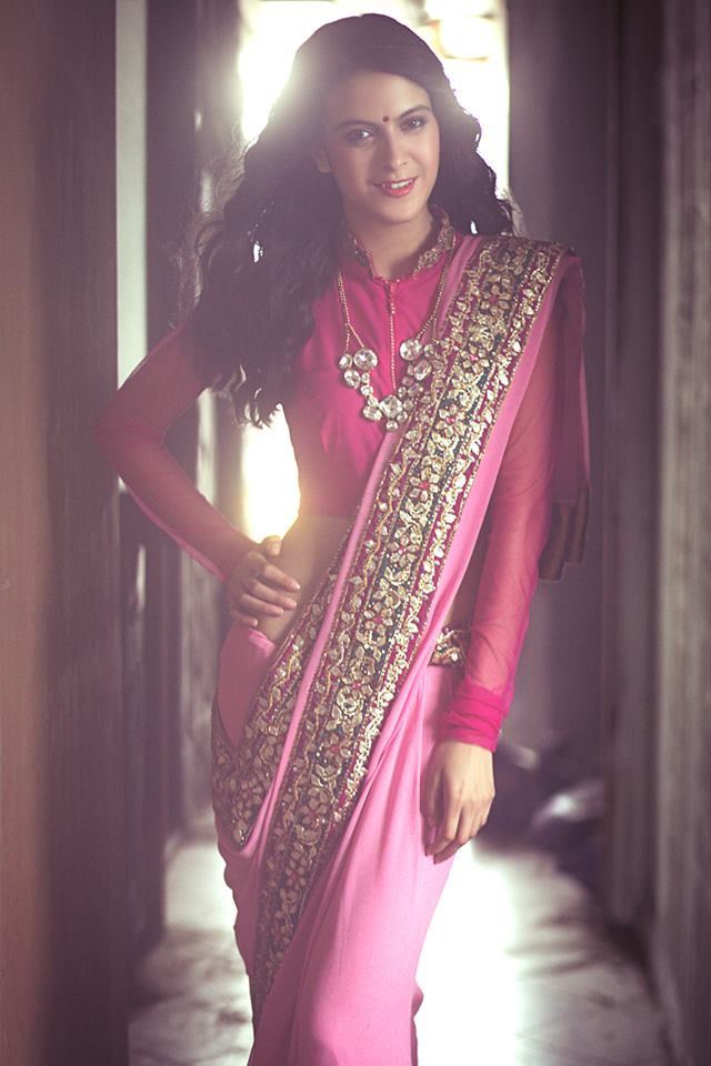 Pink #Saree With Sleeved #Blouse.