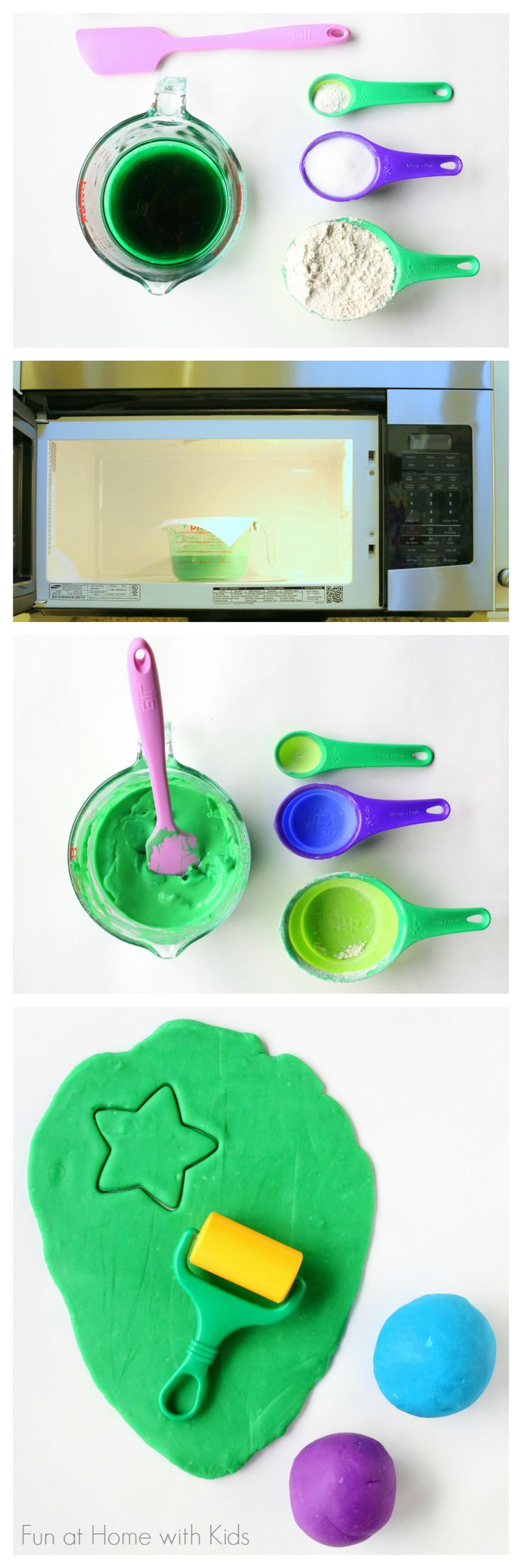 Easiest ever 5 MINUTE MICROWAVE homemade playdough from Fun at Home with Kids