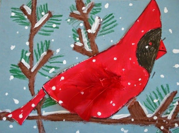 a faithful attempt: Winter Cardinals (cute for 1st, 2nd, 3rd: painting, collage, etc.)