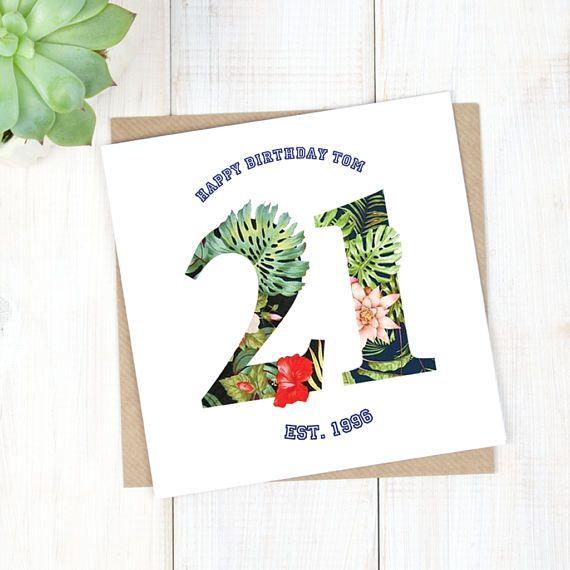 21st Birthday Card - Personalised Birthday Card - Hawaiian Birthday Card - Birthday Age Card - Son Birthday Card - Milestone Birthday Card - Etsy - LetsDreambyChiChiMoi