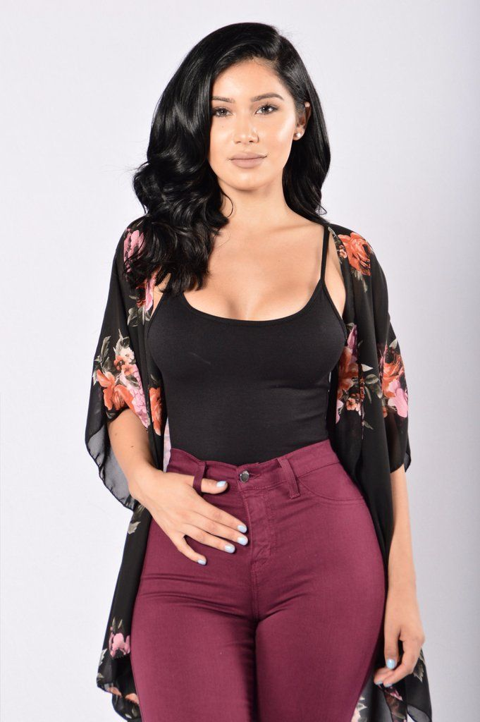 - Available in Black - Draped Open Front - Floral Print - Made in USA - 100% Polyester