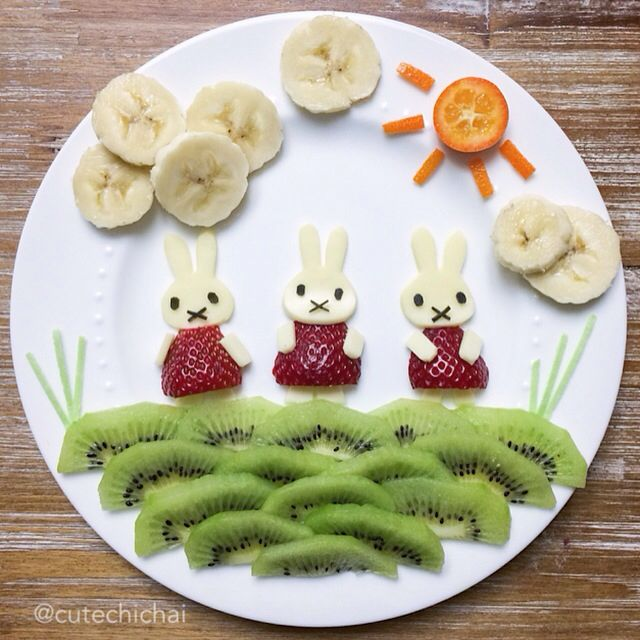 Food Art. Miffy not one but three! Having fun outdoors:)