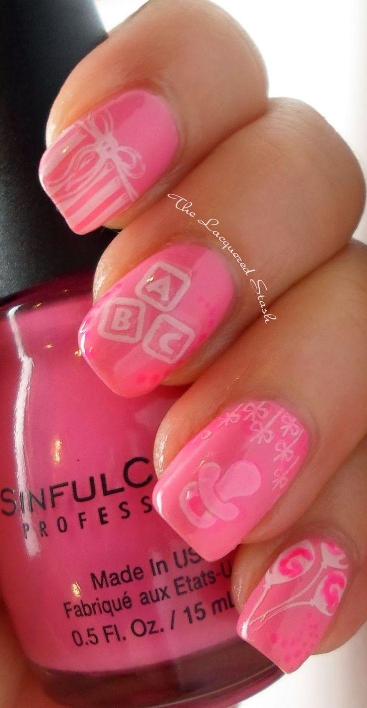 8 best manicure bebe images on Pinterest   Baby shower nails boy ...
