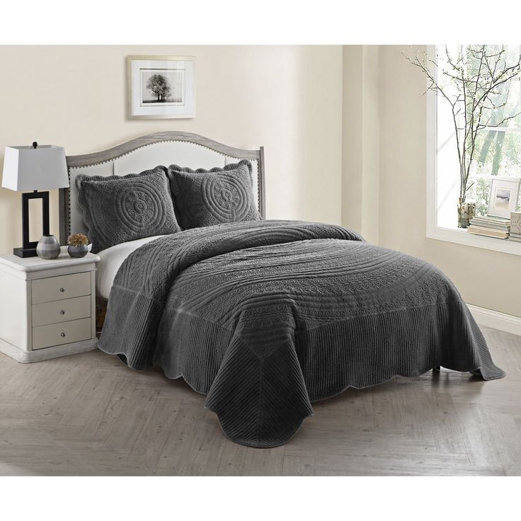 Vcny Providence Quilted Plush 3-piece Bedspread Set