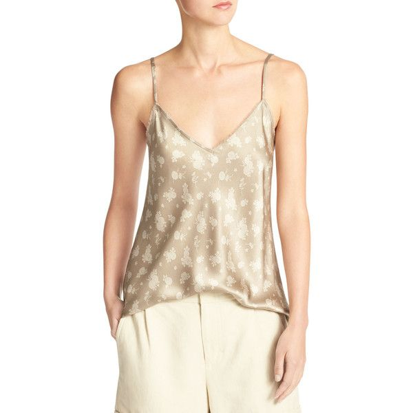 Vince Calico Floral Silk Satin V-Neck Camisole (14.530 RUB) ❤ liked on Polyvore featuring tops, beige, keyhole top, strappy cami top, strappy cami, v neck cami and camisole tops