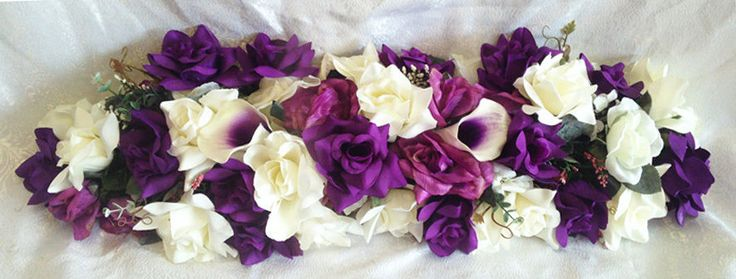 "PURPLE SWAG 30"" Centerpieces Silk Wedding Flowers Arch Gazebo Decor Callas Roses #Unbranded #WeddingPartry #Decorations"