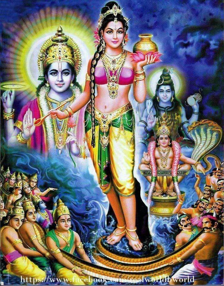 Vishnu Mohini with Amrut ( Nectar ) Swaroop During Ocean Churning Samudra Manthan