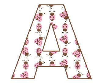Pink and Brown LADYBUG ALPHABET LETTERS wall decals for baby girl nursery, kids bedroom personalized wall art. Spell a NAME or your favorite SAYING. Bright vivid colors. Beautiful and unique #decampstudios
