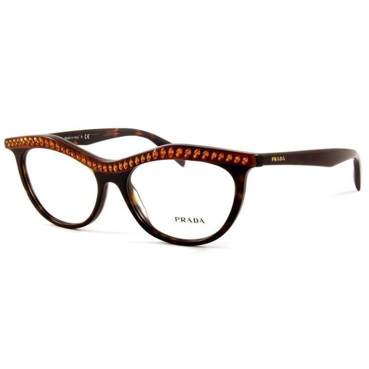 Designer Eyeglass Frames With Crystals : New Prada Eyeglasses VPR 22p Havana with crystals MAUSD-1O1 ...