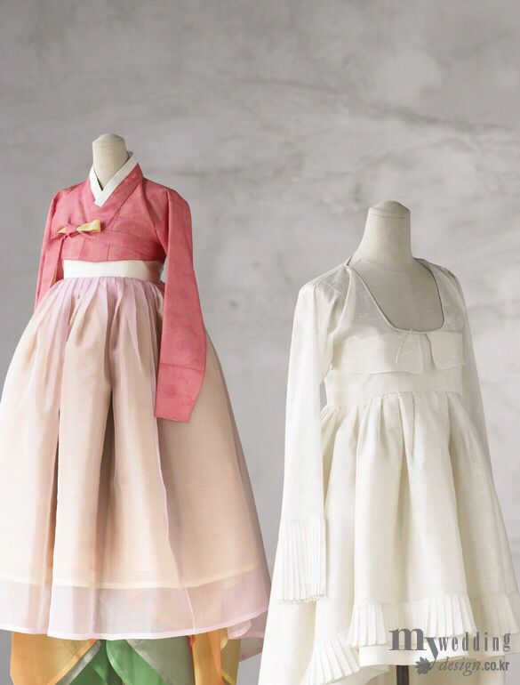 I like the look of the dusky-rose colored hanbok for the girls. …