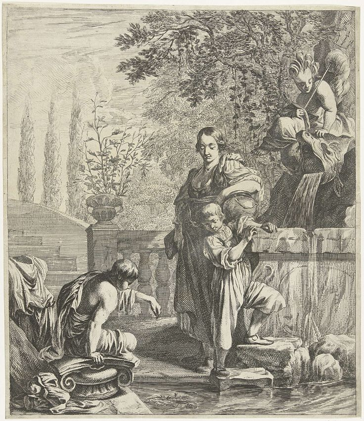 Dancker Danckerts   Vrouw met twee kinderen bij fontein, Dancker Danckerts, Johannes Spilberg (II), 1667   Vrouw staat met kind bij fontein waar jongen vissen voert.