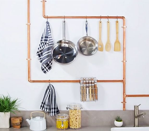 We Spy Style! DIY Copper Kitchen Rack