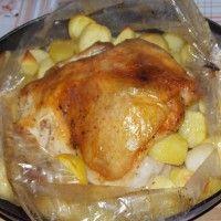 Z kurczaka z ziemniakami w rękawie (krok po kroku przepis)