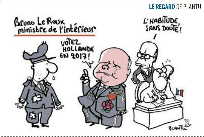 🇫🇷 Bruno Le Roux dit au policier de voter Hollande en 2017 sous l'oeil de Cazeneuve et Hollande (dessin Plantu bas de Une Le Monde)
