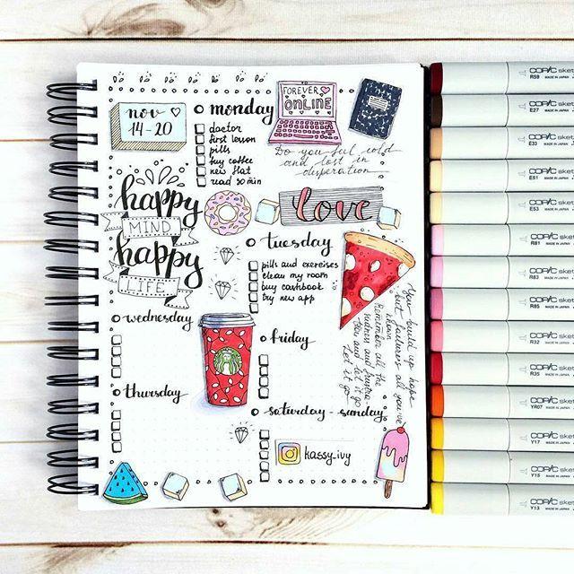 Who else is in love with this spread from kassy_ivy ???  . . . . . . . . .. . . . . . . . . . . . . . #repost -  Мой недельный планер ☕️☝️#copic #copicart #creative #color #colorful #markers #маркеры #coffee #art #artist #artwork #instaart #follow #zen #zenart #zentangle #tangle #meditatoin #creative  #art #artist #paint #painting #draw #artwork #instaart #drawing #doodle #doodling #рисую #bulletjournal #bujo