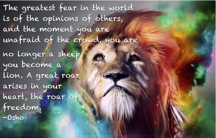 Heart of a lion. Spiritual inspiration quote. Mind Body Healing.