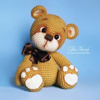 """Bruno the Teddy Bear amigurumi pattern by Elfin Thread, 10"""" tall"""