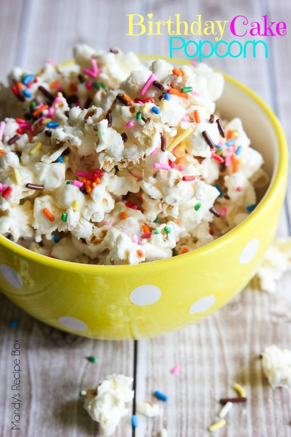 This Birthday Cake Popcorn is a fun treat that is so easy to make. White chocolate, cake mix and sprinkles are all you need to make popcorn a celebration!