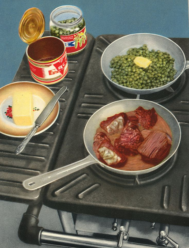 Soviet Food Poster - Dinner is prepared.
