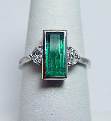 Art Deco Anillo de platino y esmeralda