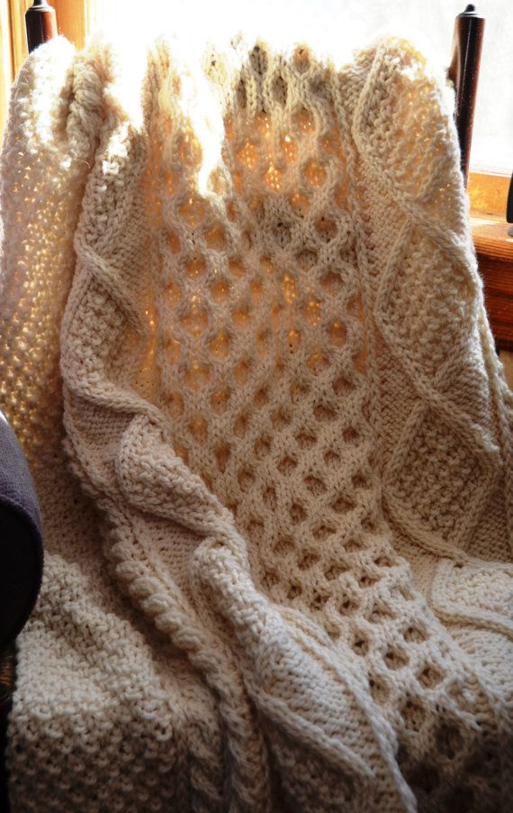 Irish Knit Baby Blanket Pattern : Irish Fisherman-Inspired Hand Knit Throw Blanket - MAGUIRE Hands, Irish and...