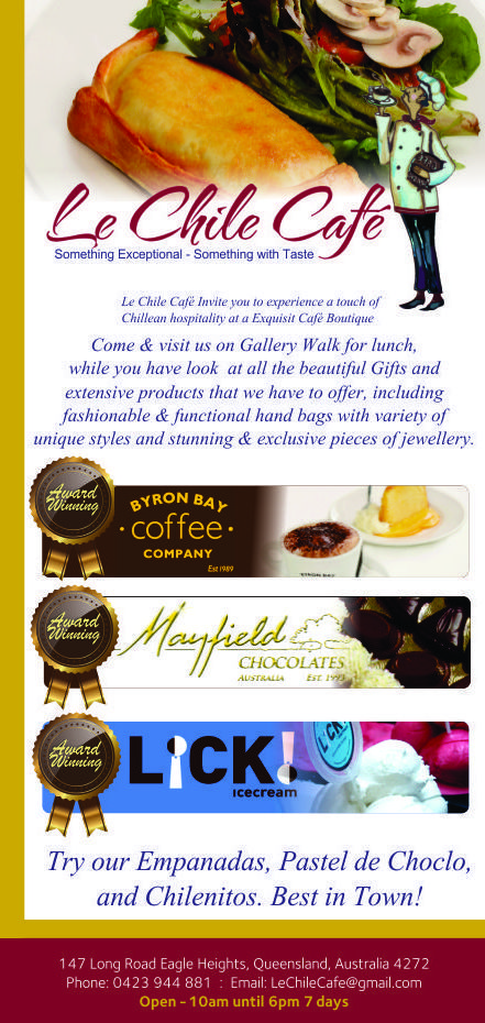 Exquisite Cafe-Boutique invites you to experience a touch of Chilean hospitality. Quality Bryon Bay Coffee ,Award winning LICK! Ice Cream, Mayfeild Chocolates and and our famous Empanada from chile!  Our extensive range of products are selectively picked from places we've travelled like Egypt, Turkey, Mexico, Brazil, Peru, Thailand, Jordan Spain, Italy, France just to name a few. Book your table now http://ticketsandtours.com.au/travel/lechile/