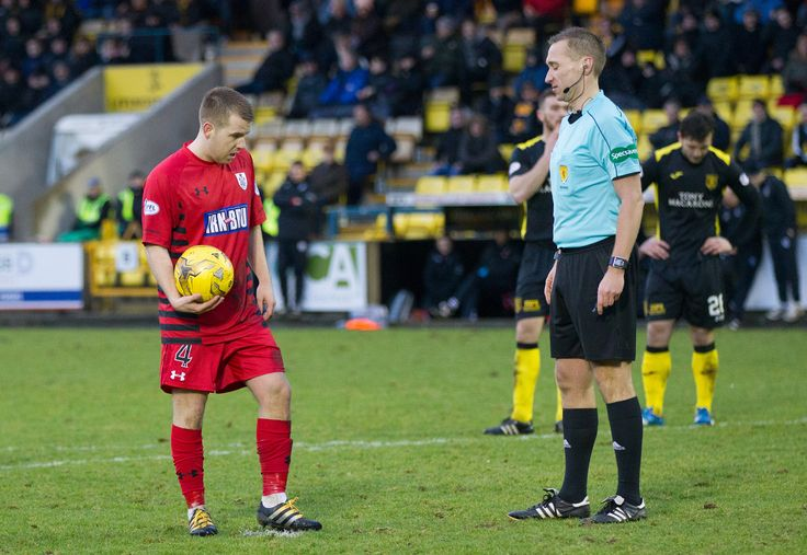 Queen's Park's Jamie McKernon prepares to take the penalty during the Ladbrokes League One game between Livingston and Queen's Park.