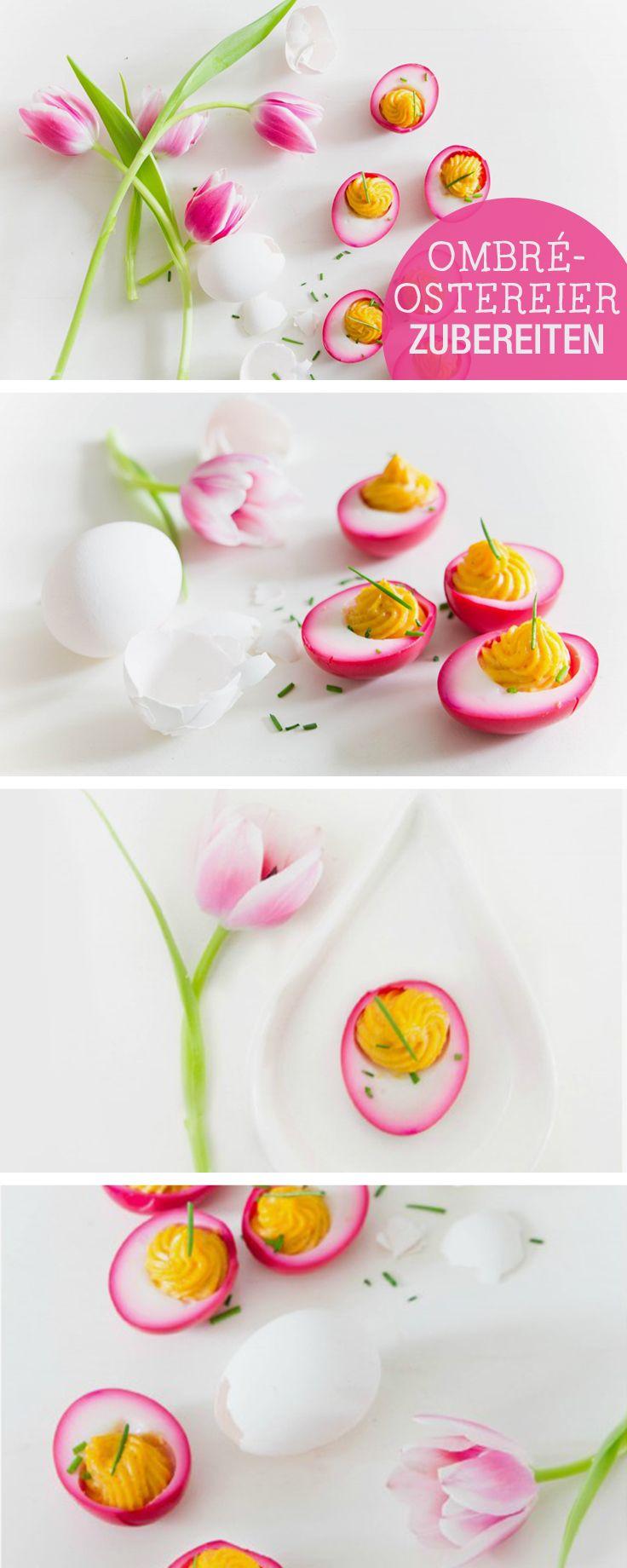 Besondere Rezepte für Ostern: Ostereier mit pinken Ombre-Effekt / easter recipe ideas: colour your easter eggs pink via DaWanda.com