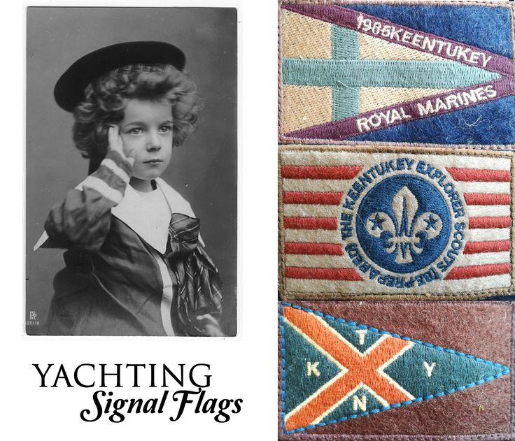 Keentukey downjacket sleeve badges. Yachting signal flags inpired