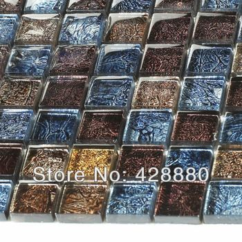 Glass Mosaic Wall Tiles brown Crystal Backsplash Kitchen Tiles Mosaic Glass Tile patterns Bathroom Wall Tile Stickers B133