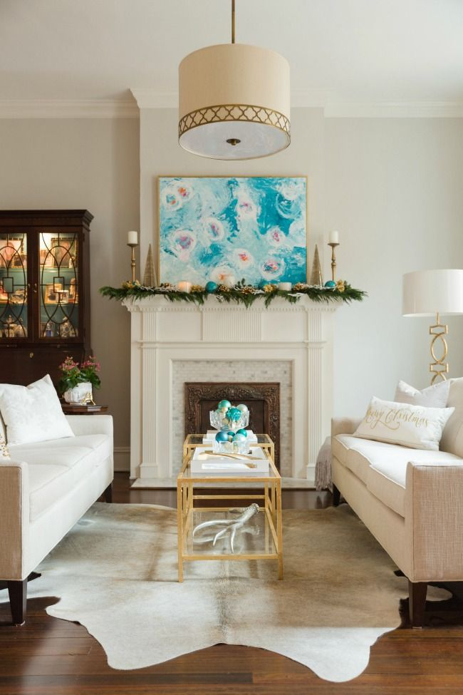 Christmas White Living Room  Beautiful Holiday House Tour