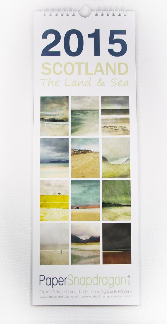 2015 Slimline Wall Calendar.  Scotland the Land by PaperSnapdragon
