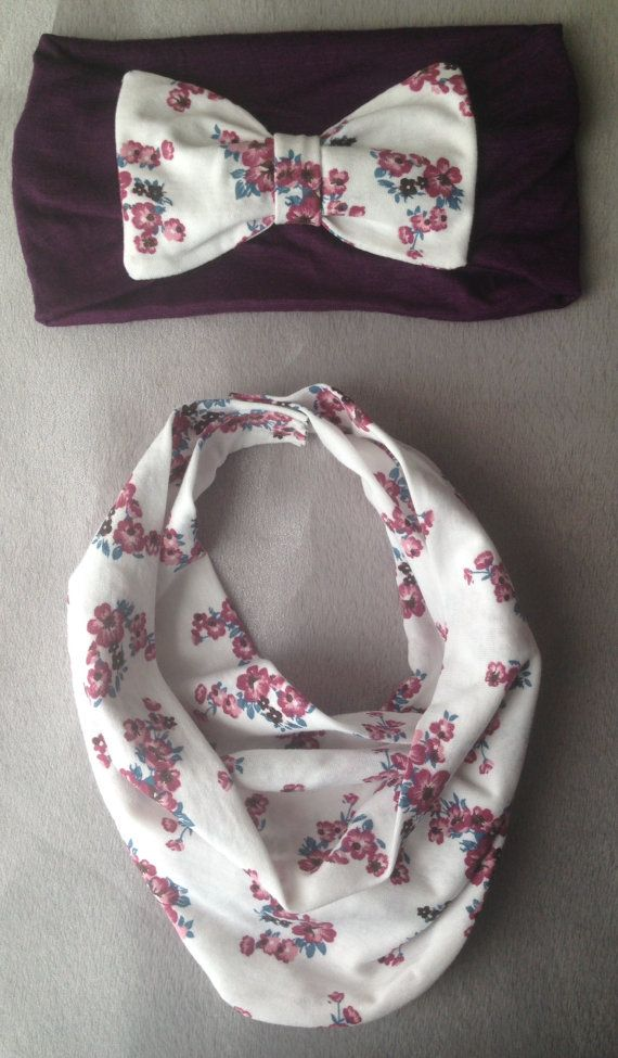 Purple Floral Baby Scarf Bib & Purple Bow Headband by AvileeBabyCo