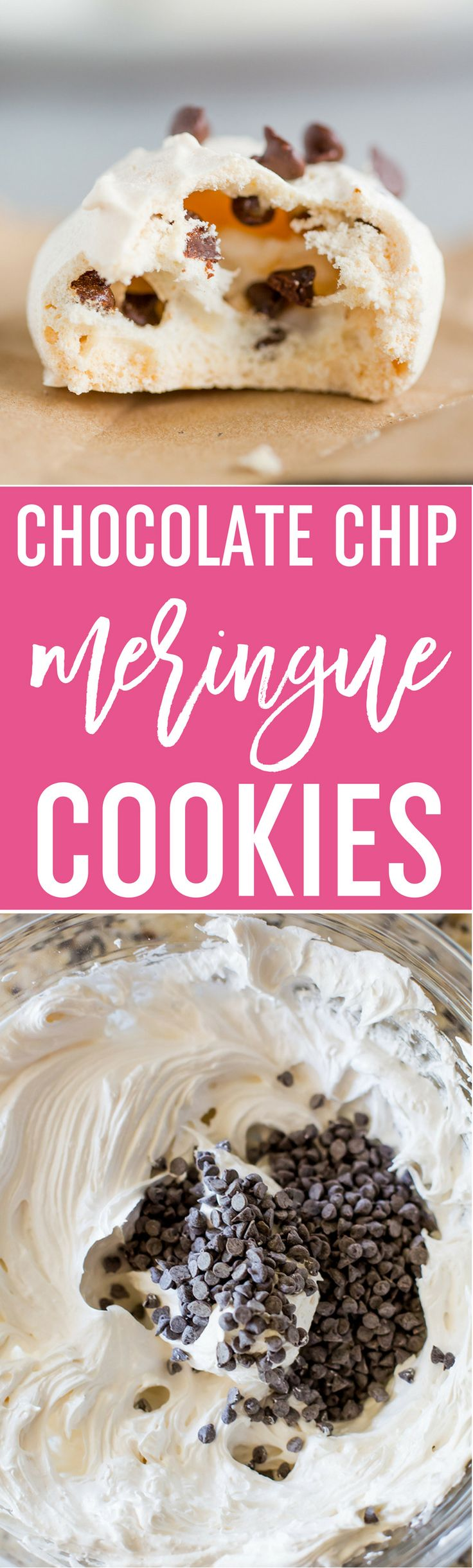 Chocolate Chip Meringue Cookies - These easy meringue cookies are loaded with mini chocolate chips and are perfect for any occasion, especially for holiday cookie exchanges and cookie trays! via @browneyedbaker