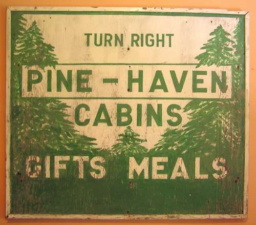 "Huge Vintage Outdoor Camp Sign  American Folk Art  55"" w x 48"" h $1,200"