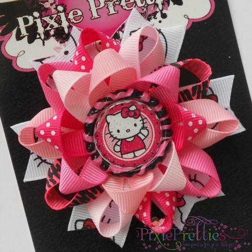 Hello Kitty Loopy Flower Bow-cat, kitty, hello kitty, animal print, wild, zebra, hot pink, pink, black, bottle cap, bottlecap, hairbow, hair bow, headband, pin, gift, birthday, toddler, party, favor