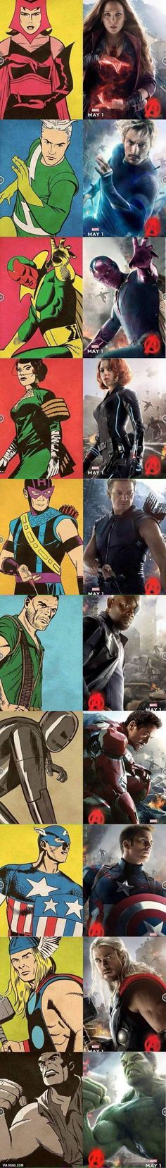 """The 1st time I saw this, I thought, """"oh yeah look old and new pictures of the Marvel characters in AoU."""" Now I'm looking at it and I'm realizing that the new and old characters are in the same poses. Did Marvel dig up poses and match the characters on purpose? If so, I applaud you, Marvel. Still mad at you for Pietro, though. X("""