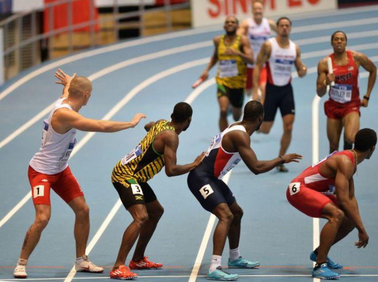 ATHLETISME - Finale du 4x100 m relais aux championnats du monde d'athlétisme de Sopot (Pologne), le 9 mars 2014. (AFP PHOTO / JANEK SKARZYNSKI)