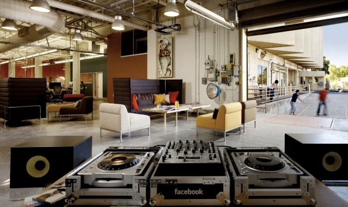 Facebook Headquarters, Palo Alto. Note skateboarders and turntables.