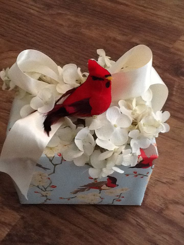 Pretty Spring Gift Wrapping...red cardinal on spring flowers
