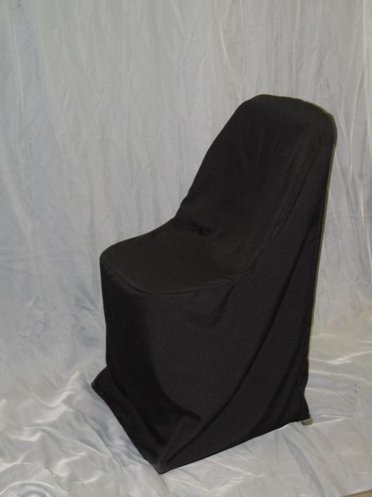 Samsonite Chair Covers Black. 	This chair cover will fit our samsonite folding chairs.  This is ideal for outdoor weddings or special events.  The regular chair covers are too large to fit the smaller chairs.