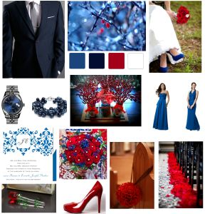 Red & blue ideas (maybe a deeper blue?)  Link to bigger pic: http://blog.littlethingsfavors.com/wp-content/uploads/2011/11/Wedding-color-inspiration.png
