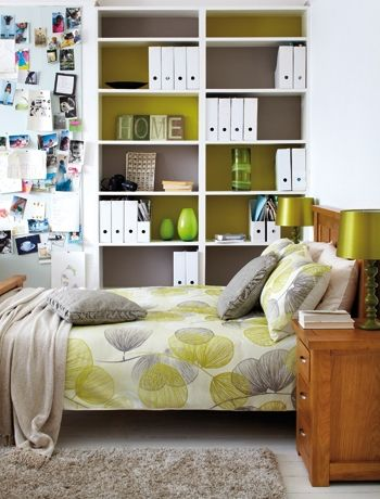 Add interest with alternated painted shelving