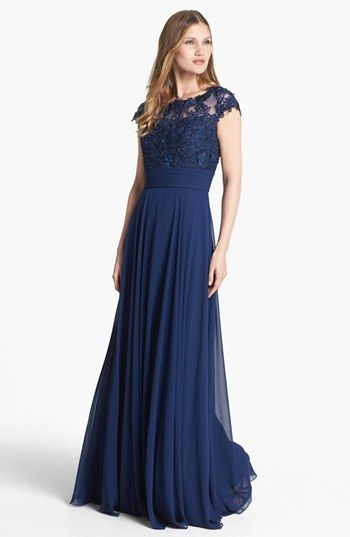 I love this dress but maybe in a tee length for Mother of the Bride La Femme Lace Bodice Ball Gown available at #Nordstrom